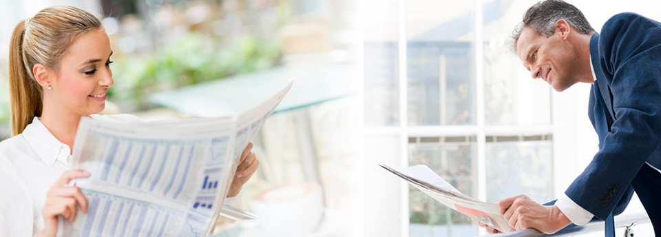 A composite image of young blonde girl reading a newspaper on the left and a businessman reading a newspaper on the right